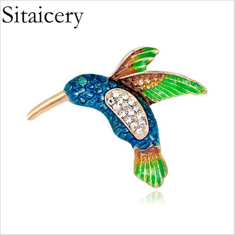 Sitaicery Enamel Flying Swallow Brooch Pins For Women Animal Beautiful Vivid Bird Broche Jewelry Accessories Gift