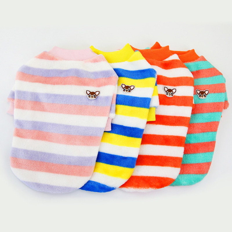Stripe Dog Vest Soft Warm Clothes for Small Dogs Cats Solid Candy Color Dog T shirt Sweater Pug Yorks Coat Jacket 518735