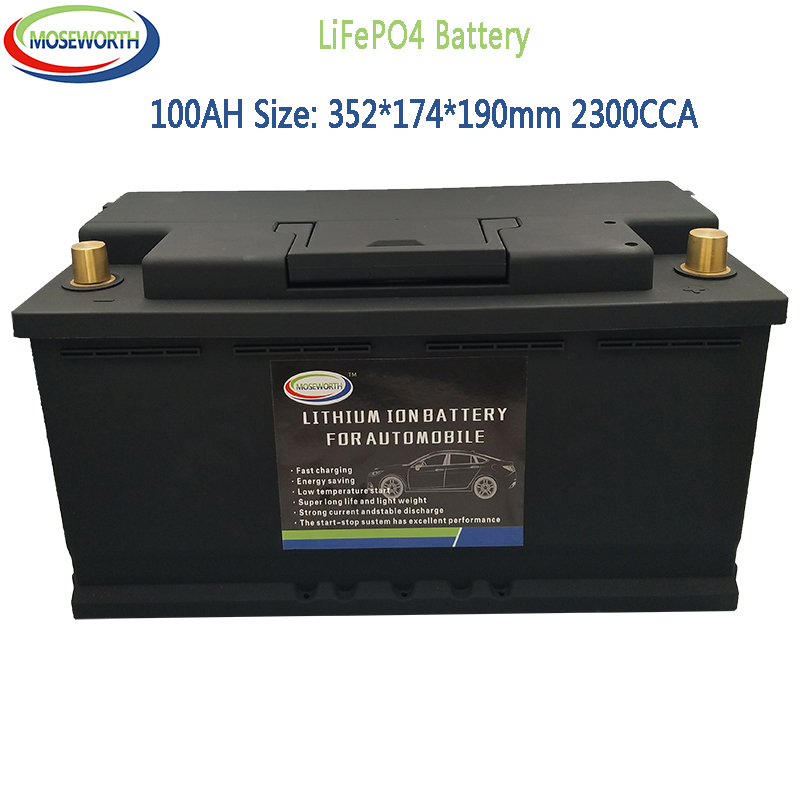 12.8V 100AH LiFePo4 LFP Lithium Iron Phosphate Battery Pack With BMS Board 2300A CCA For Car Battery Long Life Deep Cycles