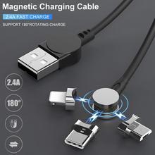 1 м Магнитный зарядный кабель Micro USB и type C 3 в 1 180 градусов под прямым углом Магнитный кабель передачи данных для IPhone XS Max XR huawei