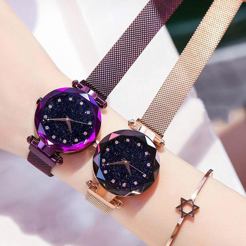 2019 nowy marka Starry Sky kobiet zegarka mody elegancki klamra magnetyczna Vibrato fioletowy złoty panie zegarek luksusowe kobiety zegarki 6