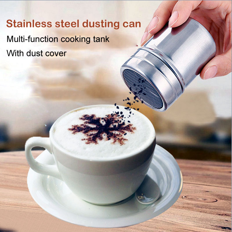 Stainless Chocolate Shaker Cocoa Flour Icing Sugar Powder Coffee Sprinkler Fancy Fine Screen Barrel Cinnamon Powder Sieve