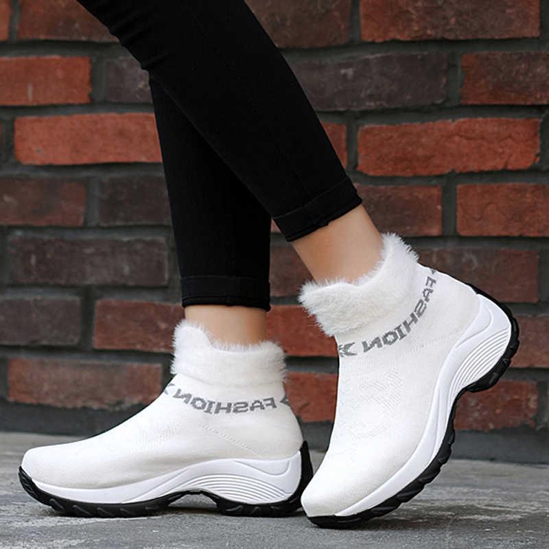 נשים חורף מגפי 2019 אופנה פלטפורמת טריזי מגפי נשים להחליק על מגפי שלג נשים פרווה חמה גרב מגפי חורף נעלי גודל גדול