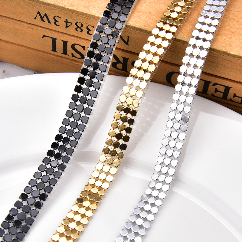 2 Metres 3mm Chain Rope Rhinestone Trim Diamante Silver Crystal Necklace Sewing
