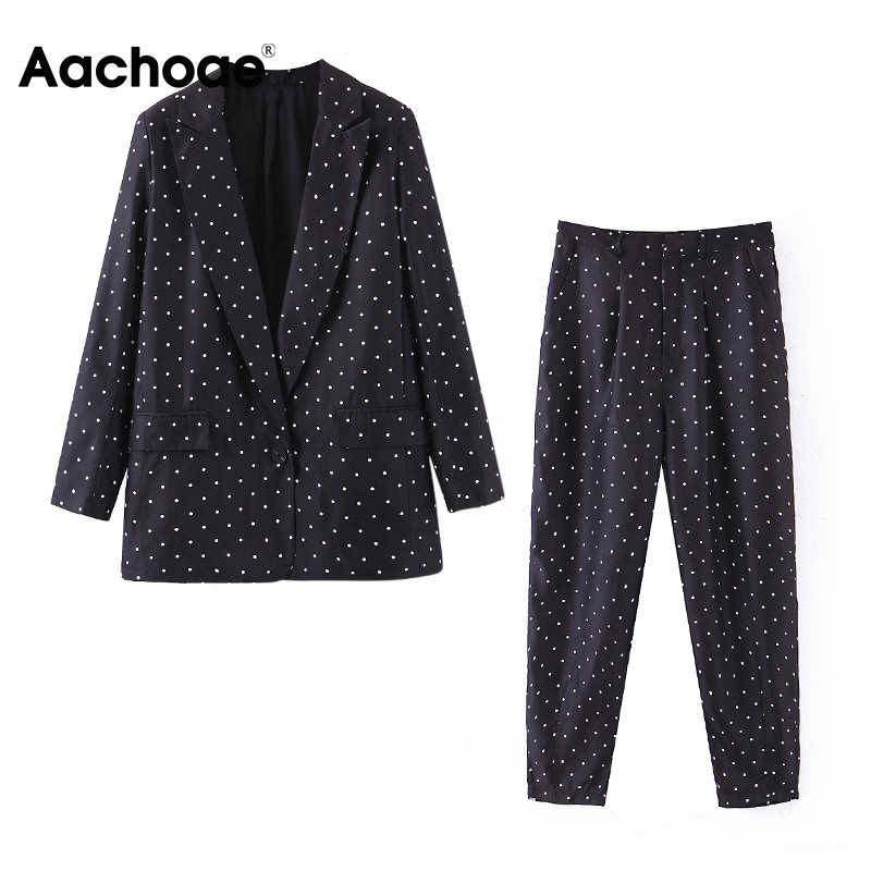 Aachoae Office Wear Polka Dot Suit Women Blazer Set Long Sleeve Single Breasted Blazer With Full Length Casual Pleated Pants