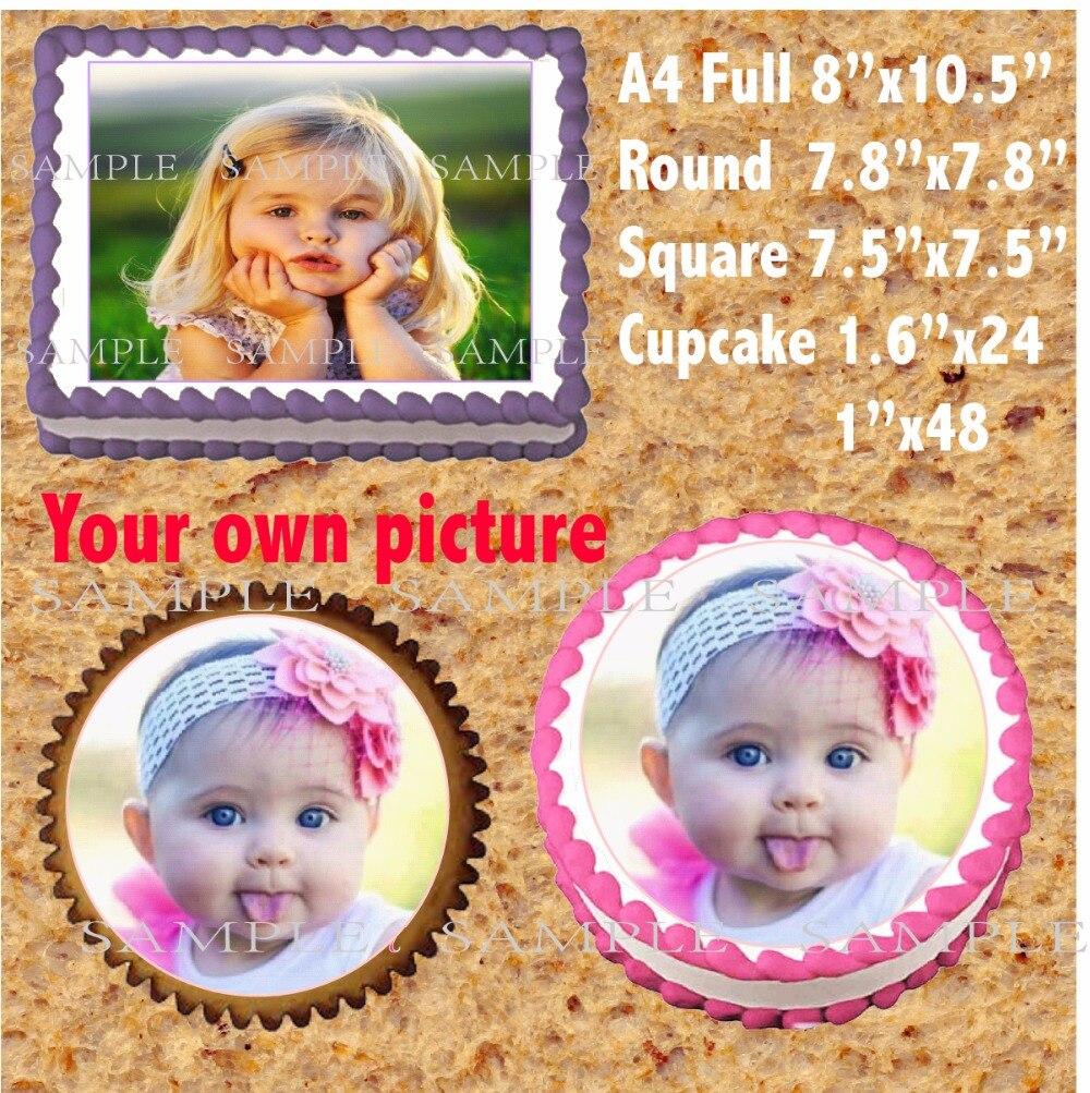 Ваш собственный рисунок, съедобный Топпер для торта, Вафля, рисовая бумага, торт, кекс, печенье, Топпер, украшение, пирог на день рождения или ...