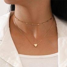 Yobest basit moda kadın klavikula kolye kadınlar için çok katmanlı altın renk zincir kolye kalp kolye kolye