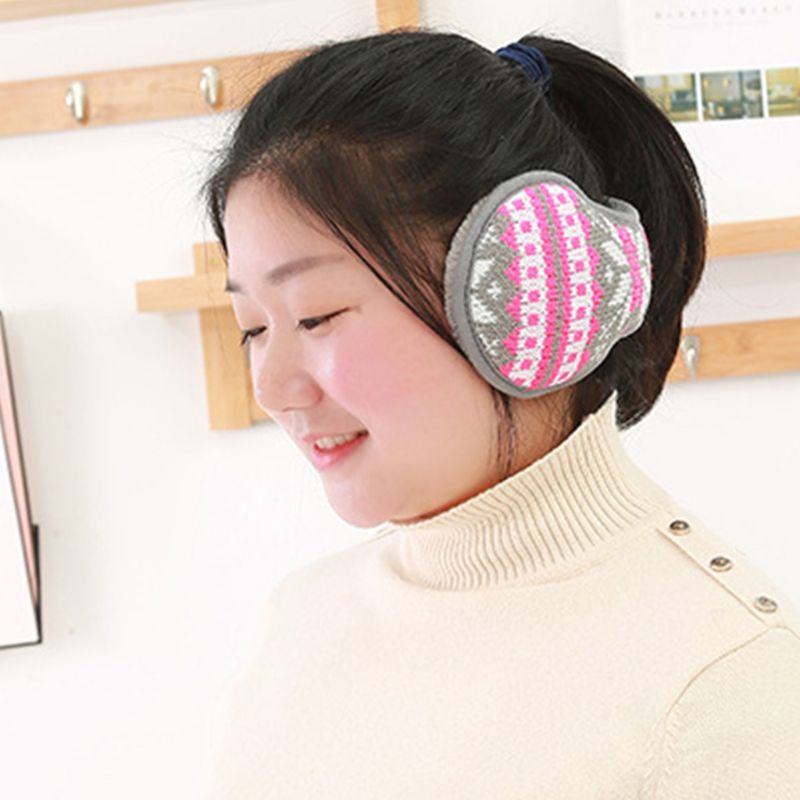Women Men Snowflake Knitted Earmuffs Foldable Winter Thicken Plush Ear Warmers DXAA