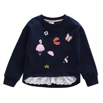 Baby Girls Cotton Sweatshirts 2020 New Fashion Winter Spring Autumn Blouses Children Long Sleeves Kid Stitching lace T-Shirt black lace details stitching design round neck long sleeves t shirt