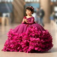 Puffy Flower Girls Dresses 3D Flower V Neck Long Sleeve Kids Teens Pageant Gowns Birthday Party Dress For Wedding Cooktail Gown