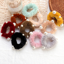 Autumn Winter New Imitation Rabbit Hair Rope ins Candy Color Pearl Plush Ring Head Accessories