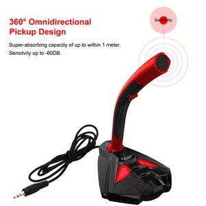 Image 4 - Microfono con cavo Con Il Telefono Del Basamento Da Tavolo Stereo PC Gaming microfono Studio di Gioco 360 ° microfono USB Professionale Doppio Microfono