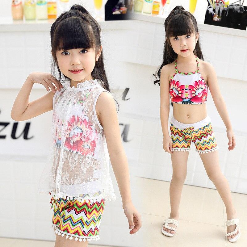 KID'S Swimwear Three-piece Set Large Children GIRL'S Du Dou Shi Split Type Boxer Vintage Printed Girls Hot Springs Swimwear