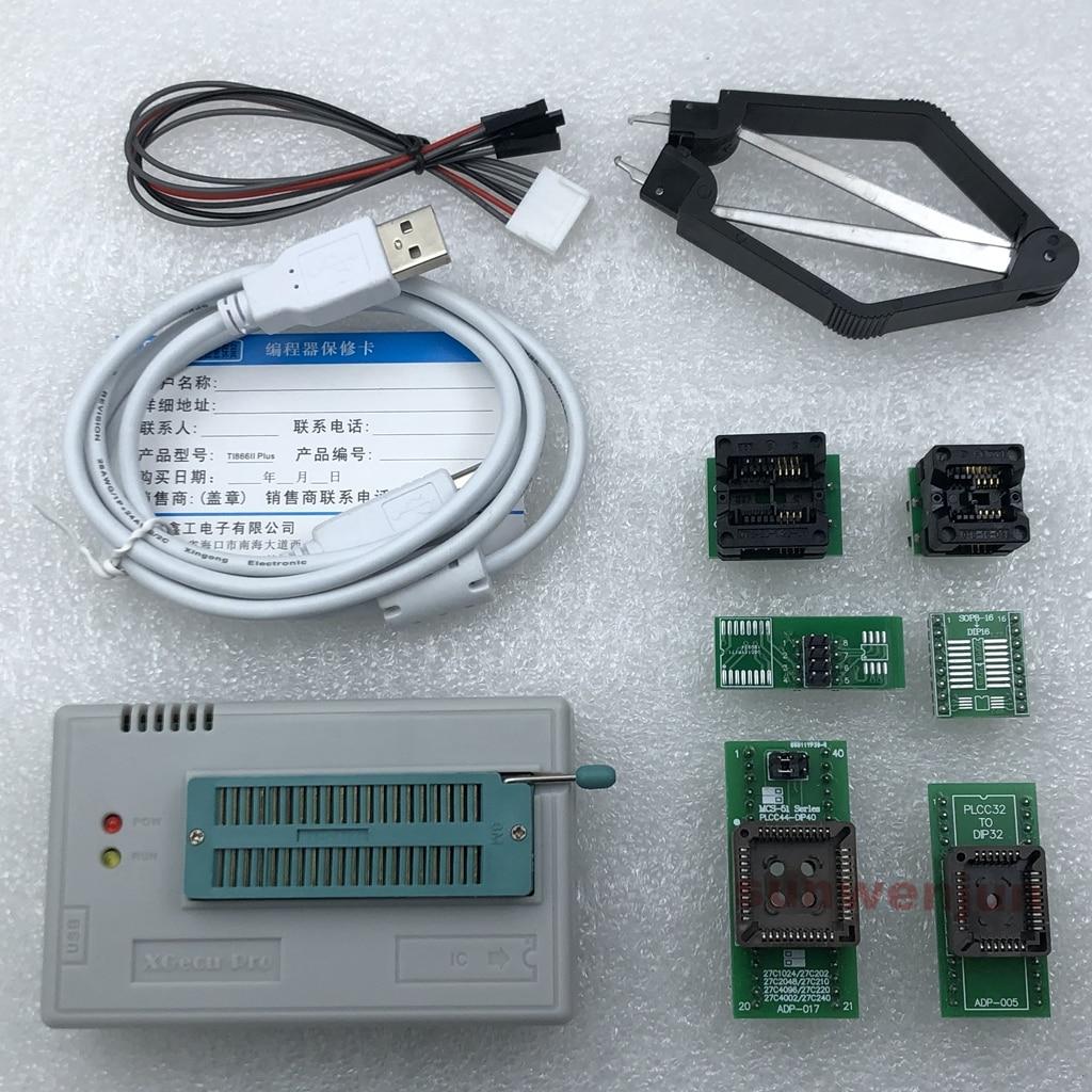 V10.13 XGecu TL866II más programador USB de apoyo 15000 + IC SPI Flash NAND EEPROM MCU PIC AVR reemplazar TL866A TL866CS + 6 adaptadoresadapter tl866aadapter tl866adapter avr -