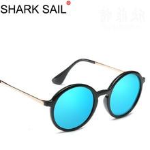 купить SHARK SAIL Retro Round Sunglasses Women Man Brand Designer Sun Glasses For Men Alloy Mirror Female Oculos De Sol Black Frame дешево