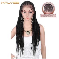 Calyss 31 pulgadas 13x7 pelucas trenzadas a mano peluca Frontal de encaje sintético para mujeres negras pelucas de trenzas frontales de encaje