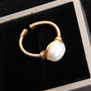 Image 4 - Pearl Ring Natural freshwater pearl ring For women Handmade Creative Gold Color rings Wedding Party luxury pearl rings