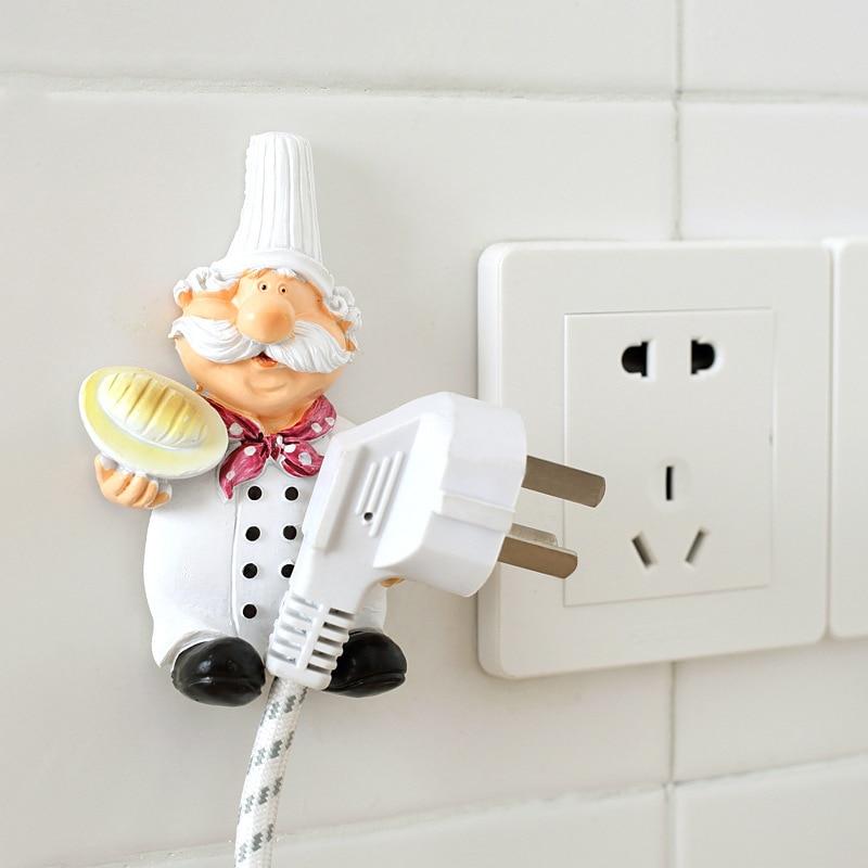 1pcs Creative Hook Socket Cartoon Chef Shape Power Cord Strong Paste Plug Rack Key Holder Shelve Kitchen Accessories