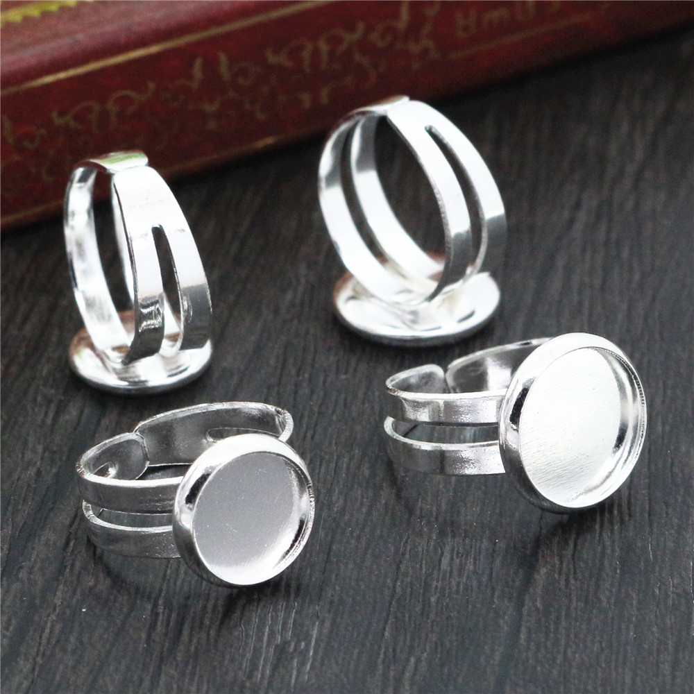 8mm And 10mm 10pcs Bright Silver Plated Children Ring Adjustable Ring Settings Blank/Base,Fit 8mm And 10mm Glass Cabochons