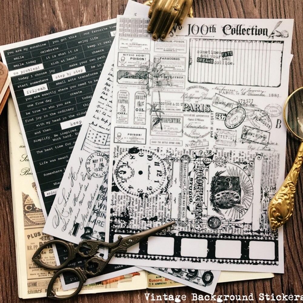 3 blätter/Tasche Vintage Zeitung Schwarz Weiß Pergament Papier DIY Handwerk Scrapbooking Album Junk Journal Planer Dekorative Aufkleber