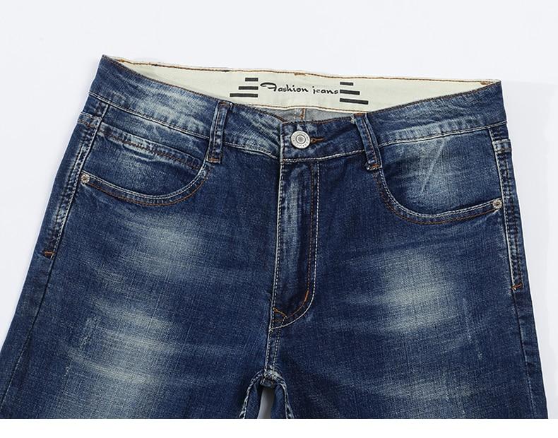 KSTUN Men's Jeans Classic Direct Stretch Dark Blue Business Casual Denim Pants Slim Straight Long Trousers Gentleman Cowboys 38 13