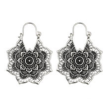 2019 Hot Antique Silver Gypsy Indian Tribal Ethnic Hoop Dangle Mandala Earrings Boho Party Charm Earrings For Women D2(China)