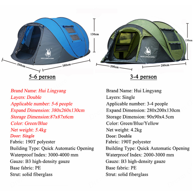 HUI LINGYANG throw tent outdoor automatic tents throwing pop up waterproof camping hiking tent waterproof large family tents 6