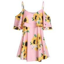 Bestselling Womens Sling Dress Large Size Sunflower Print Ladies Ruffle Tops Fashion Bohemian Beach Mini Dresses