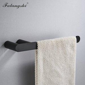 Image 4 - Falangshi Juego de accesorios de baño, toallero de alta calidad con acabado negro, soporte para papel higiénico, jabonera montada en la pared, WB8846