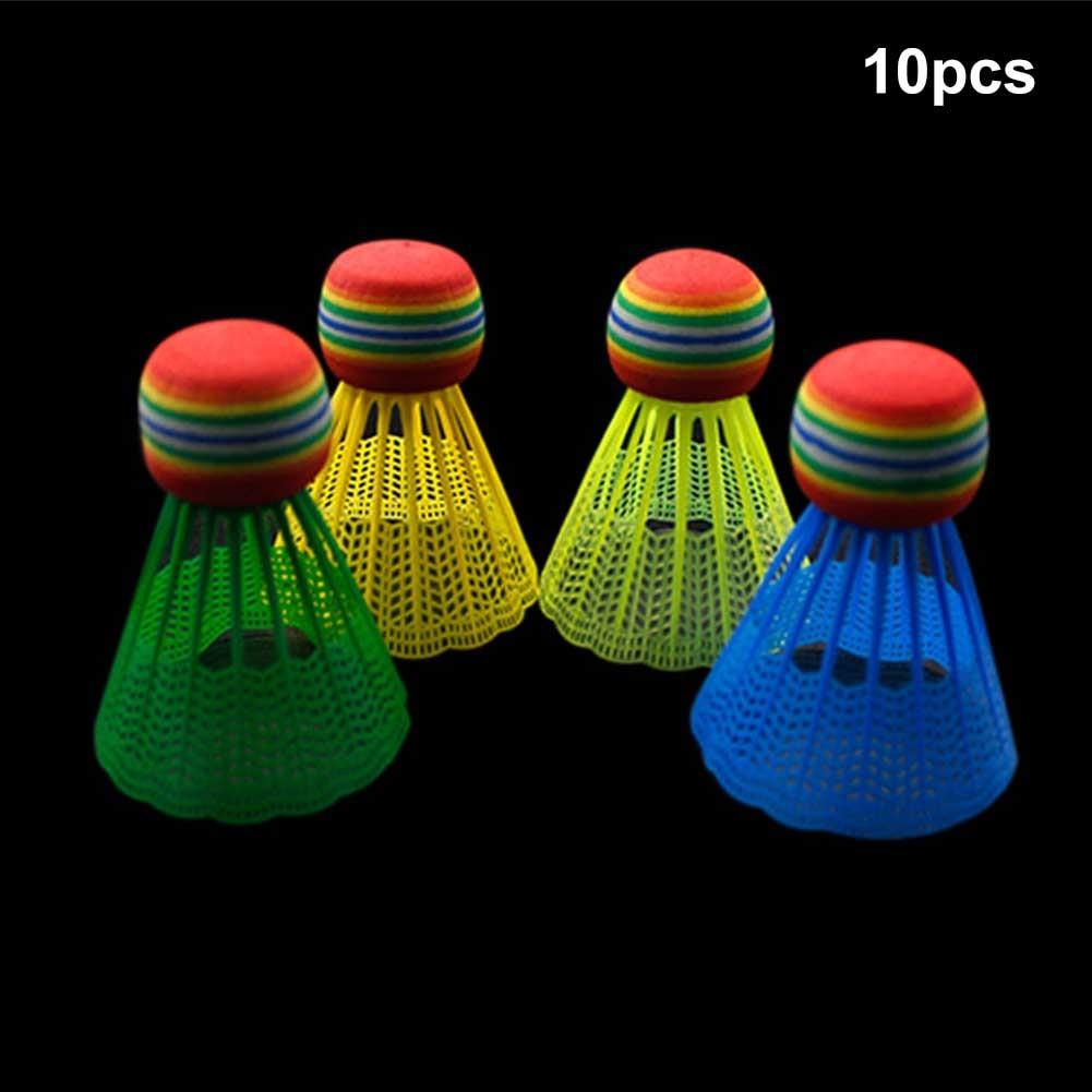 10pcs Training Indoor Portable Badminton Durable Entertainment Practice Reusable Gym Nylon Ball Rainbow Head Outdoor Game Sport
