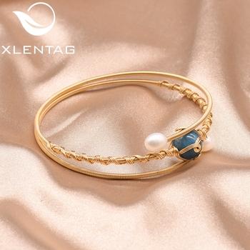 XlentAg słodkowodne perły muti-layer bransoletki na ślub kobiety naturalny niebieski kamień biżuteria Boho Bizuteria Damska GB0176D tanie i dobre opinie Miedzi BOHEMIA Pearl Idealnie okrągłe Perły słodkowodne Wszystko kompatybilny GB0176B Brak ROUND Złoto-kolor Nickel lead cadmium free