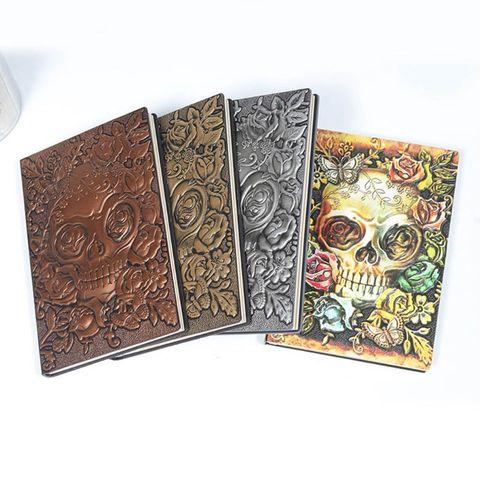 criativo cranio flor em relevo a5 couro caderno diario bloco de notas viagem diario planejador
