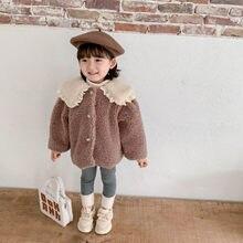 2020 outono inverno nova chegada meninas manga longa casaco de lã quente crianças design coreano jaquetas meninas jaquetas