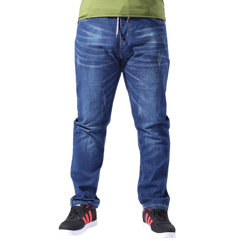 Plus Size Men Clothing 8XL Classic Jeans Elastic Waist Men Stretch Straight Loose Baggy Male Jeans Denim Pant 46 48 50 52
