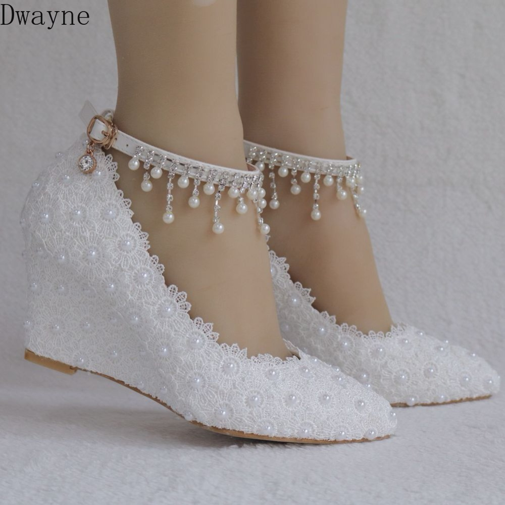 2019 Spring New Pearl Lace Fashion Slim High Heel Women's Wedge With Large Size Shallow Mouth Buckle Pointed Female Wedding Shoe
