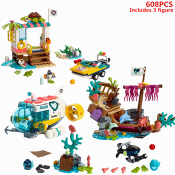 Friends series Turtle Rescue and Submarine for Dolphin Rescue Building Blocks Sets Bricks Model Children Classic Girl Toys Gifts enlighten blocks fire rescue series block sea rescue teams diy building block 404pcs assembly bricks playmobil toys for children
