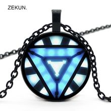 2019 / Super Hero Iron Man Reactor Necklace Tony Stark Glass Pendant Avengers Iron Man Necklace the avengers super hero marvel hot toys iron man tony stark 1 20 scale bust deluxe set of 6 with battle damaged mk6 3 pvc