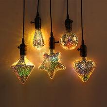 Рождественский светильник лампочка e27 scoket 3d красочные стилизованные