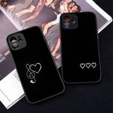 Telefon Fall Für iPhone 12 11 Mini Pro XR XS Max 7 8 Plus X mangel an Einfache Linien Liebe Herz matte transparente abdeckung