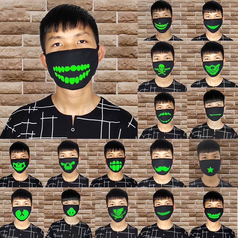 Woman Men Glow In Dark Skull Scarey Masks Black Mask Mouth Party Mask Face Cosplay Masquerade Decorations DIY Half Costume G7N5