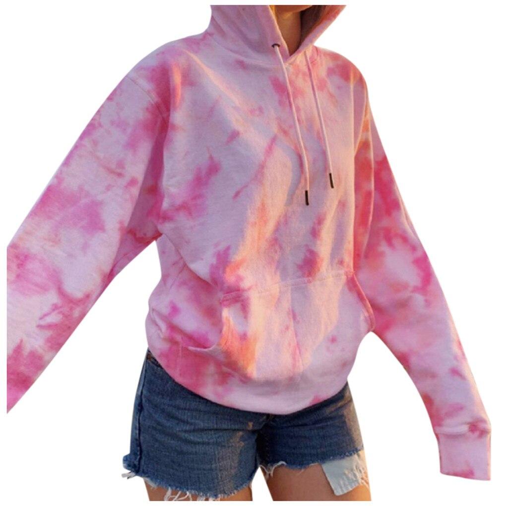 Rainbow Hoodies Women Sweatshirt Oversize Tie Dye Hoodie Streetwear Pullover Spring Autumn Casual Women Sweatshirts Hoddies Tops 2