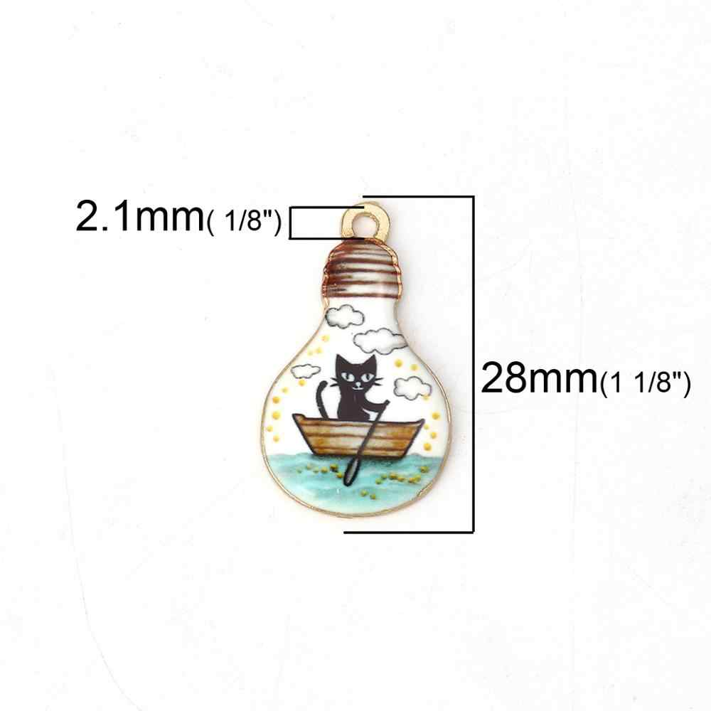 DoreenBeads แฟชั่นโลหะผสมสังกะสีจี้ Charms หลอดไฟทอง Multicolor ปลาเคลือบเครื่องประดับ DIY 28 มม.x 17 มม,2 PCs