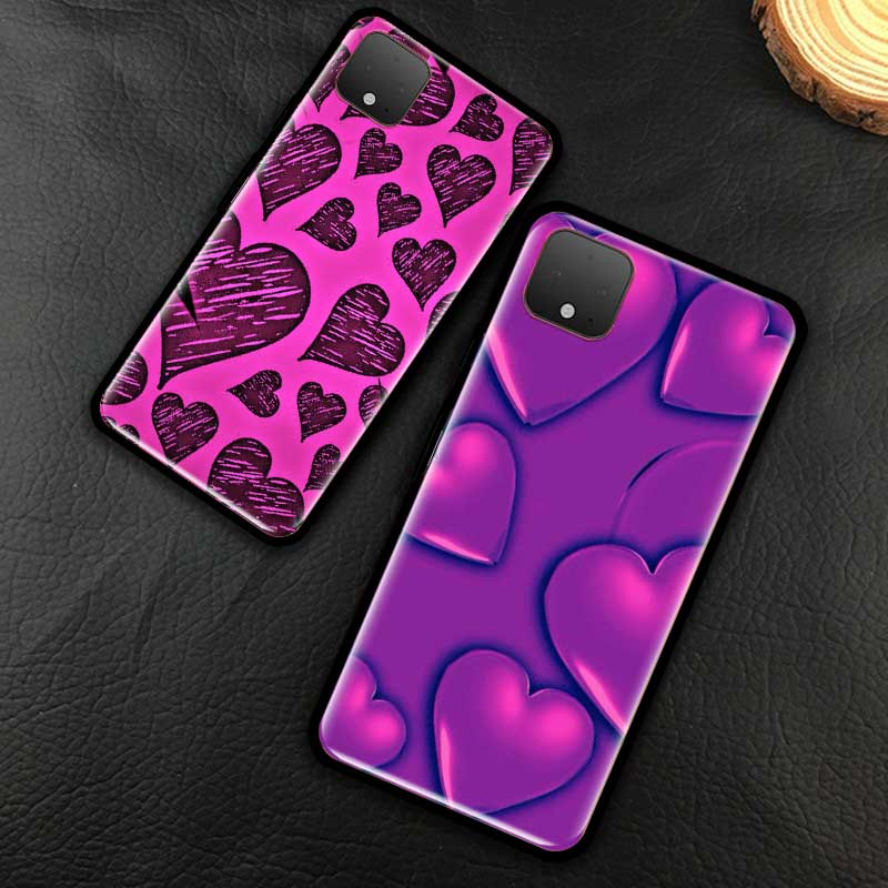 Urple Heart Swirl Pattern Phone Case For Google Pixel 4 XL 4A 5G Pixel 5 Luxury Soft Silicone Fundas Black Cover Coque Shell Bag