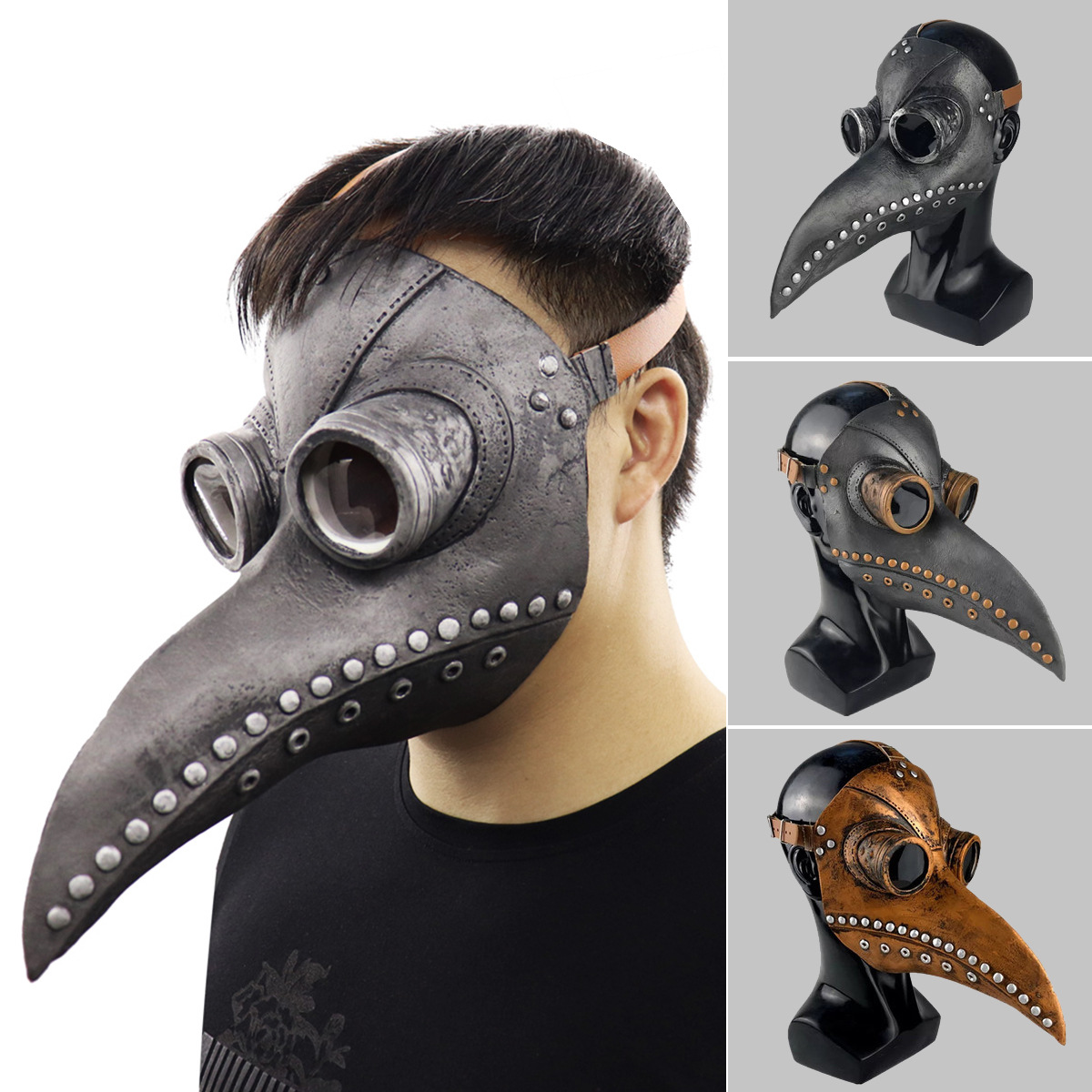 Plague Beak Doctor Mask Cosplay Costumes Props Punk Latex Halloween Beak Half Face Mask Party Terror