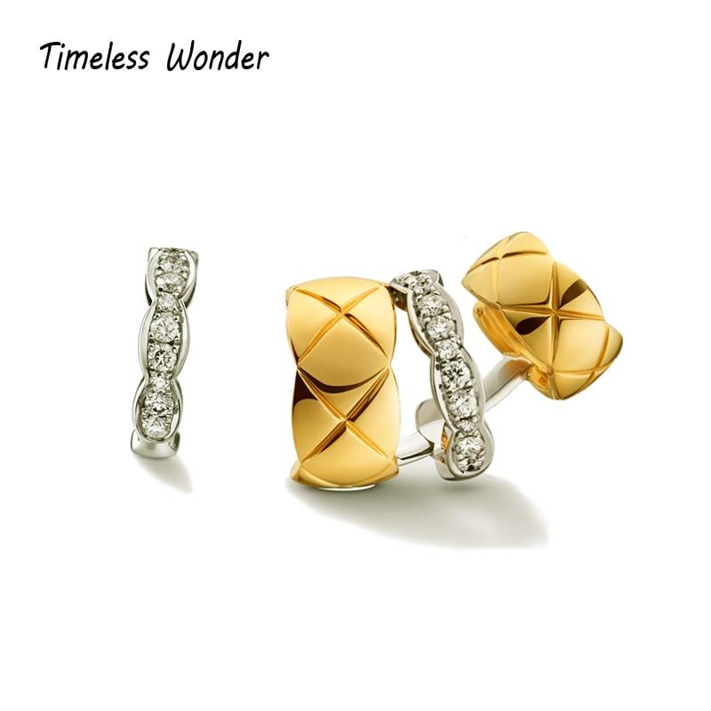 Timeless Wonder Amazing Zirconia Geo Ear Cuff Earrings Clip Women Statement Jewelry Punk Runway Gothic Designer Trendy Ins 2373