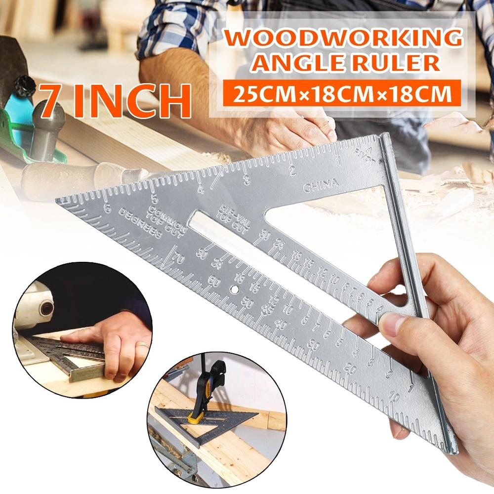 7inch Measurement Tool Square Ruler Aluminum Alloy Speed Protractor Miter For Carpenter Tri-square Line Scriber Saw Guide