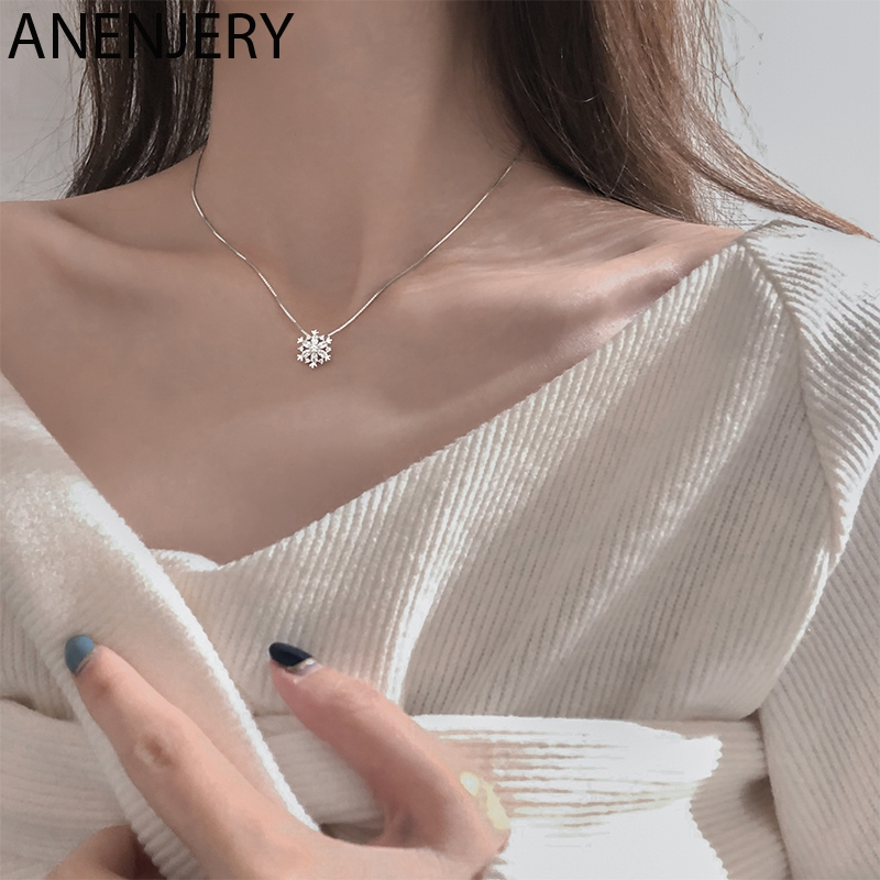ANENJERY Flash Cubic Zircon Snowflake Pendant Necklace Fashion Clavicle Chain Rose Gold Silver Color Necklace For Women S-N605
