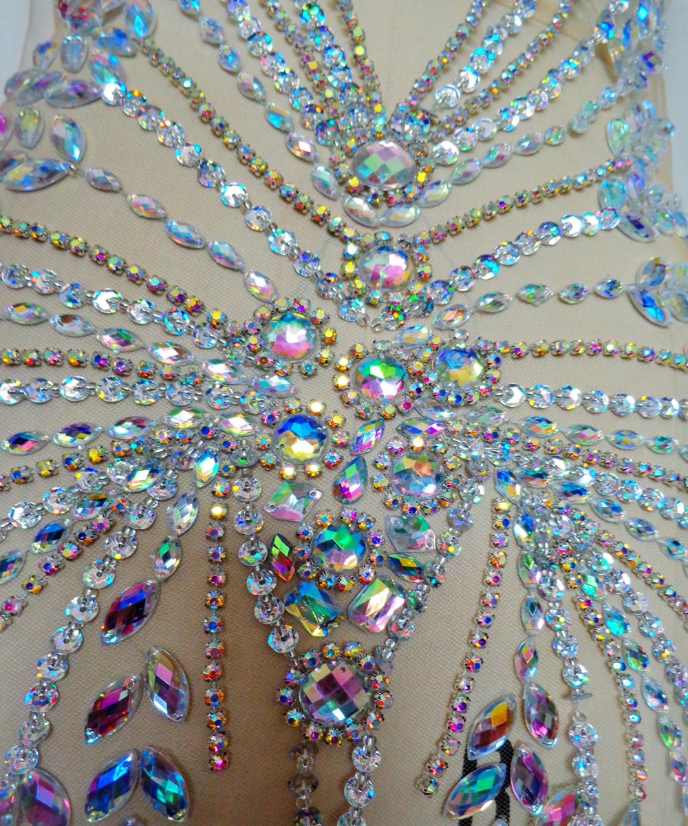Image 4 - Handmade rhinestones applique patches sew on  clear AB colour 