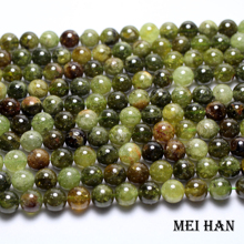 Meihan Wholesale genuine natural (approx38beads/set) 10mm  green garnett smooth round loose stone beads for jewelry DIY making