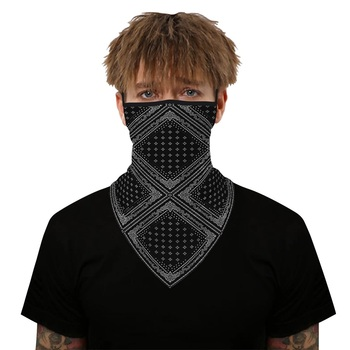 Hanging Ear Triangle Scarves Balaclava Bandana Face Scarf Camping Cycling Neck Gaiter Cover Breathable Triangle Face Shield men women triangle bandana summer face cover shield hanging ear tube scarf ice silk neck gaiter balaclava breathable headband